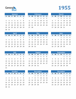 Image of 1955 1955 Calendar Blue with No Borders