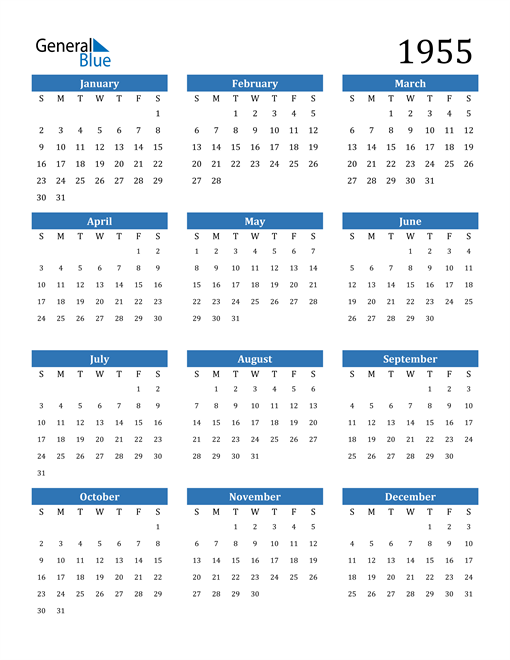 Image of 1955 1955 Calendar