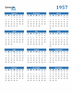 Image of 1957 1957 Calendar Blue with No Borders