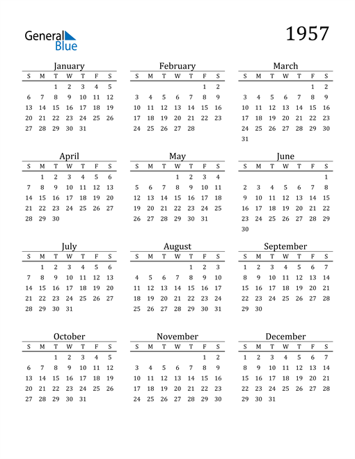 Image of 1957 1957 Printable Calendar Classic