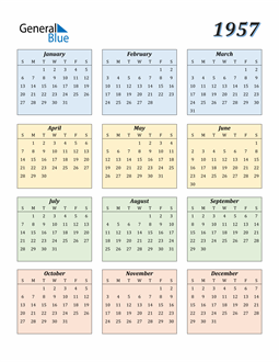 Image of 1957 1957 Calendar with Color