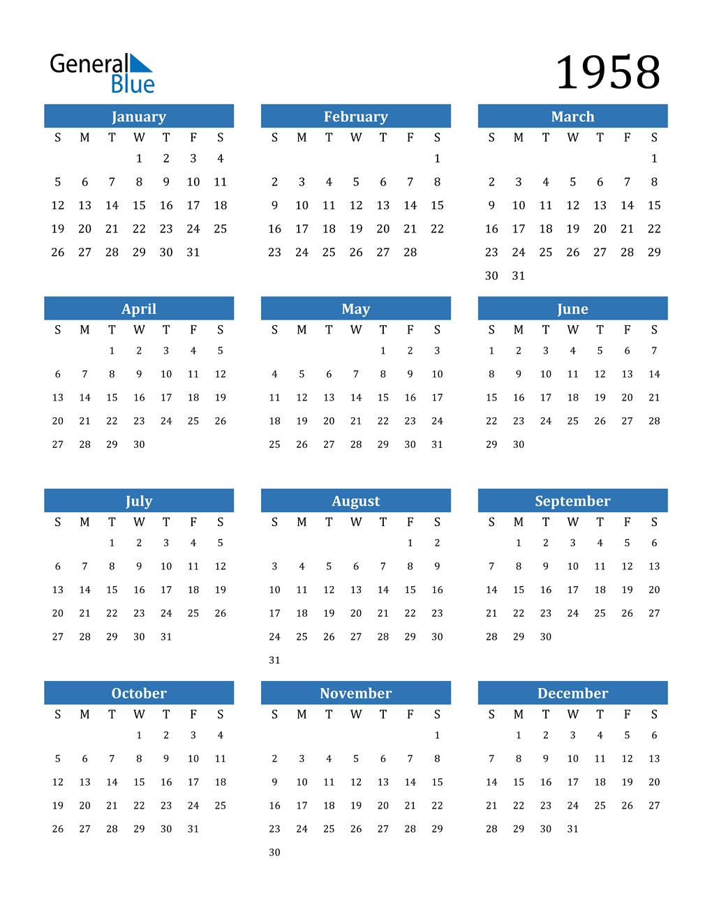 1958 Calendar (PDF, Word, Excel)