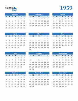 Image of 1959 1959 Calendar Blue with No Borders