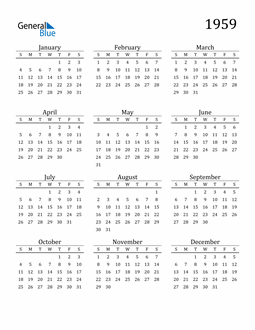 Image of 1959 1959 Printable Calendar Classic