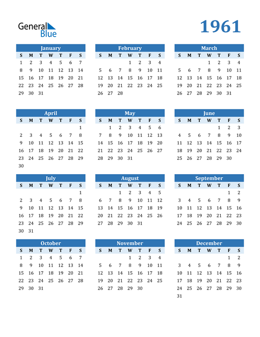 Image of 1961 1961 Calendar Blue with No Borders