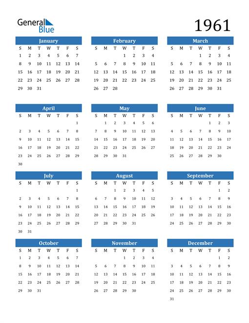Image of 1961 1961 Calendar