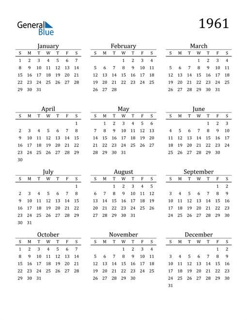Image of 1961 1961 Printable Calendar Classic