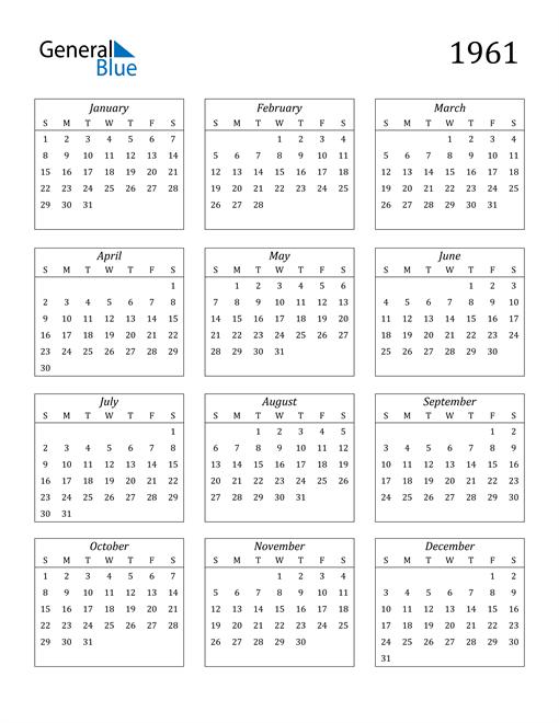 Image of 1961 1961 Calendar Streamlined