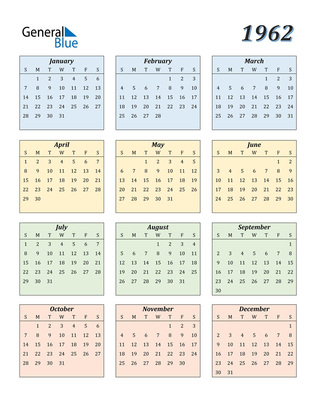 1962 Calendar (PDF, Word, Excel)
