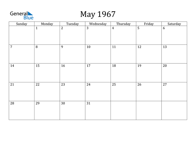 May 1967 Calendar (PDF Word Excel)