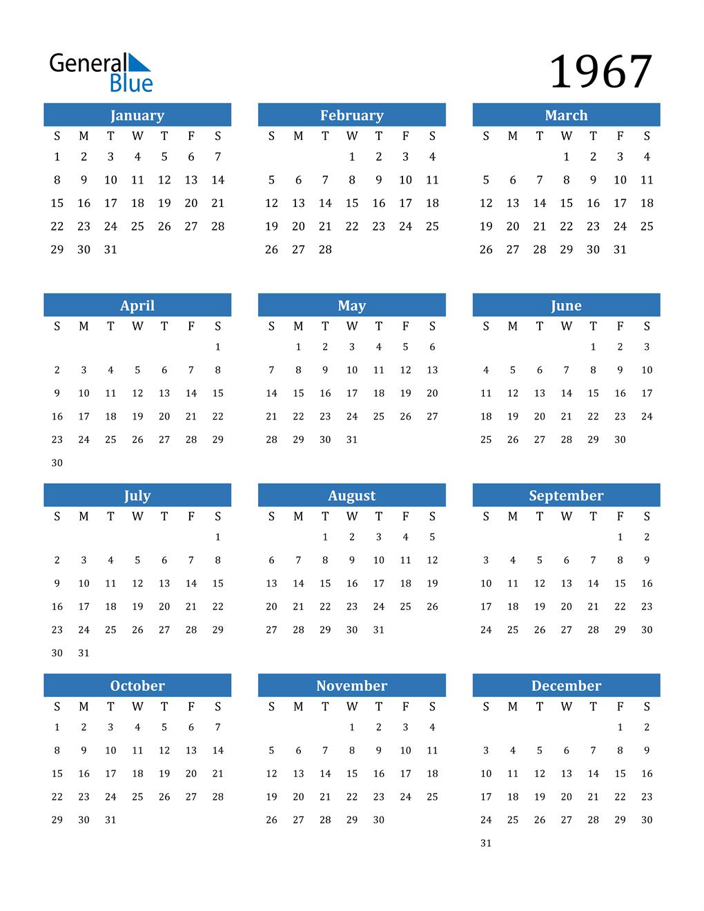1967 Calendar (PDF, Word, Excel)