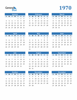 Image of 1970 1970 Calendar Blue with No Borders