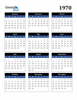 Image of 1970 1970 Calendar Stylish Dark Blue and Black
