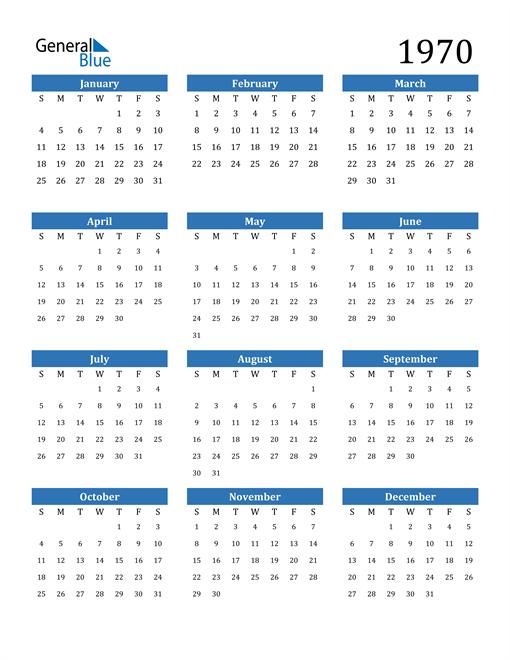 Image of 1970 1970 Calendar