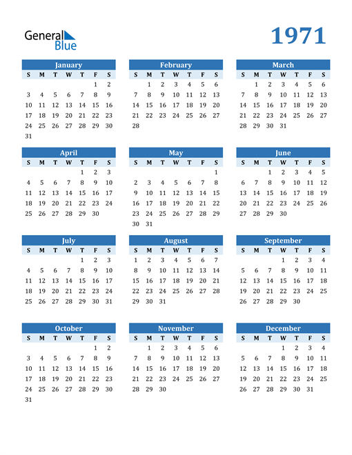 Image of 1971 1971 Calendar Blue with No Borders