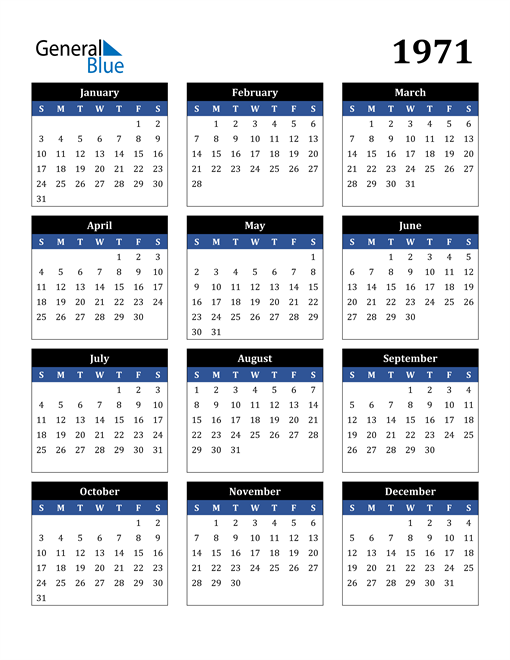 Image of 1971 1971 Calendar Stylish Dark Blue and Black