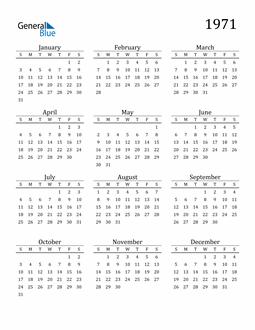 Image of 1971 1971 Printable Calendar Classic