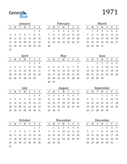 Image of 1971 1971 Printable Calendar Classic