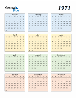 Image of 1971 1971 Calendar with Color