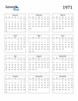 Image of 1971 1971 Calendar Streamlined
