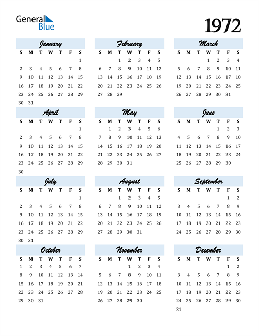 Image of 1972 1972 Calendar Cool and Funky