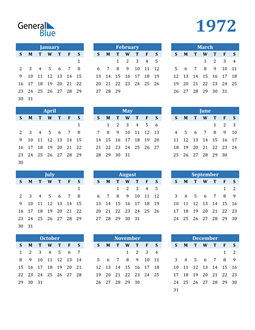 Image of 1972 1972 Calendar Blue with No Borders