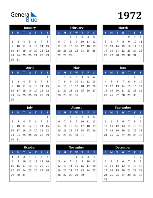 Image of 1972 1972 Calendar Stylish Dark Blue and Black