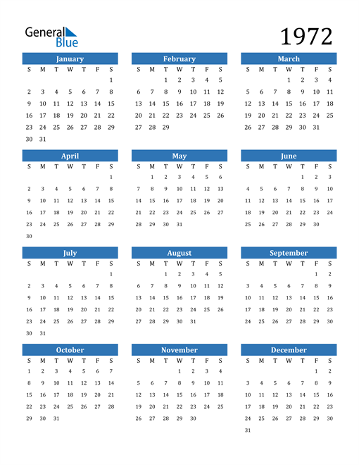 Image of 1972 1972 Calendar