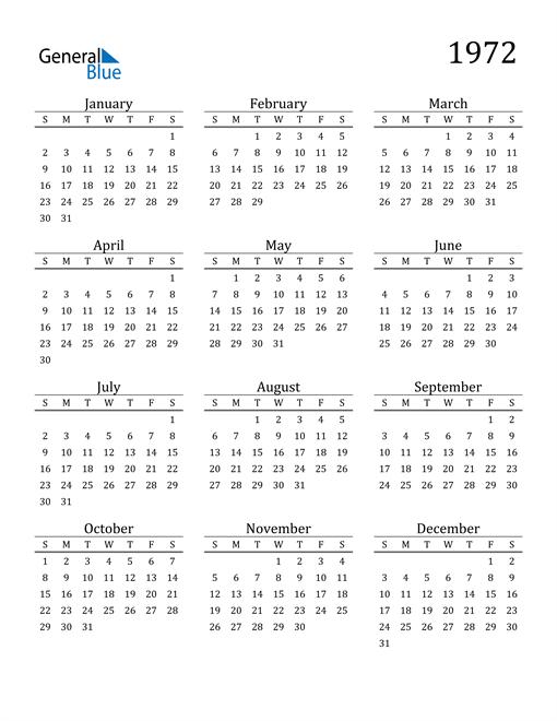 Image of 1972 1972 Printable Calendar Classic