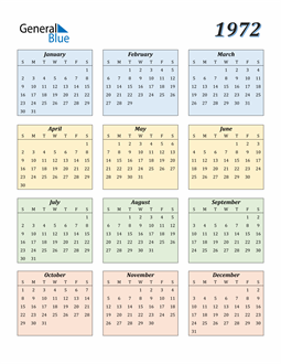 Image of 1972 1972 Calendar with Color