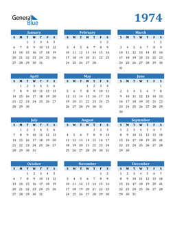 Image of 1974 1974 Calendar Blue with No Borders