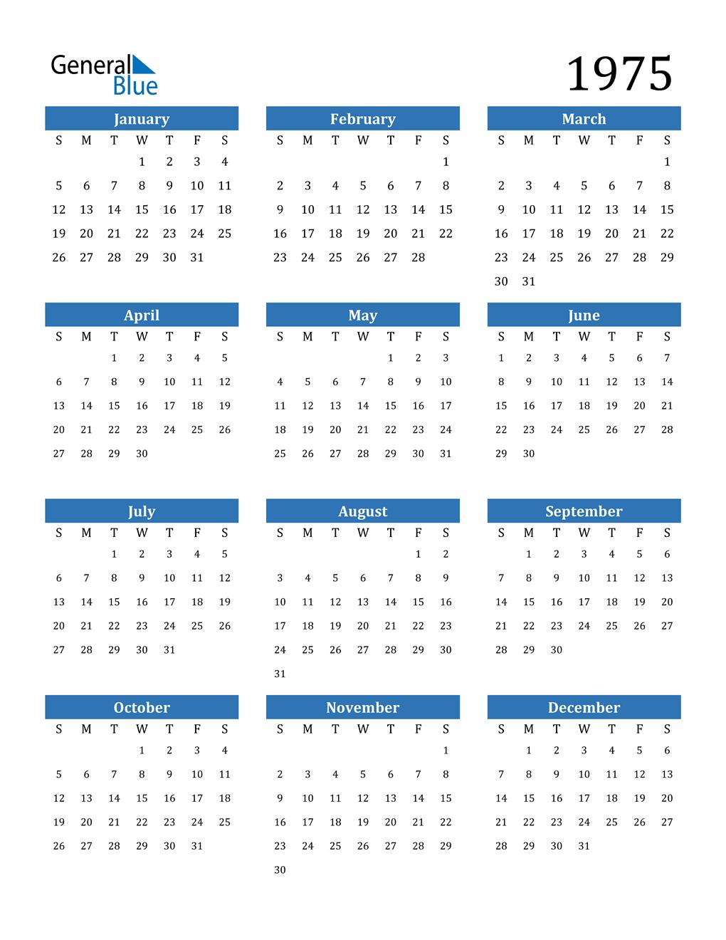 1975 Calendar (PDF, Word, Excel)