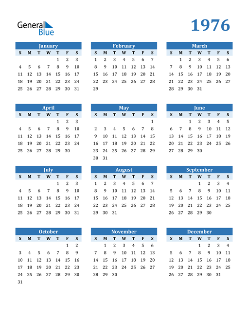 Image of 1976 1976 Calendar Blue with No Borders