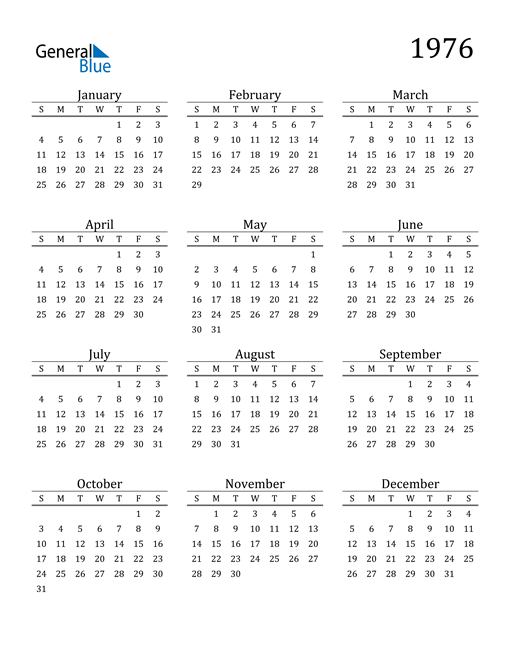 Image of 1976 1976 Printable Calendar Classic