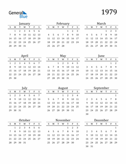 Image of 1979 1979 Printable Calendar Classic