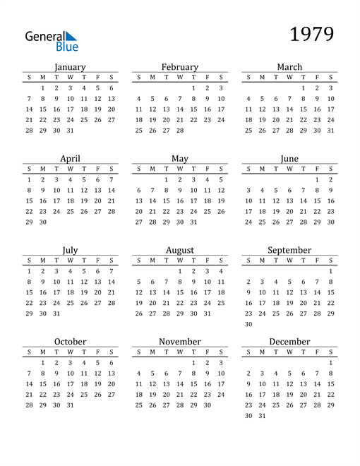 Image of 1979 1979 Printable Calendar Classic