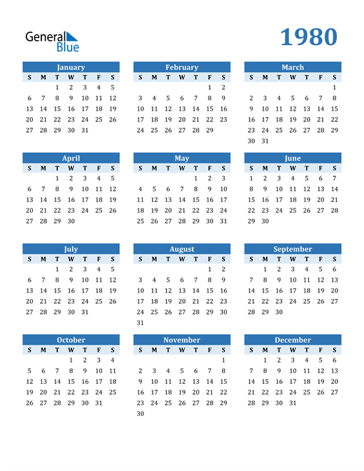 Image of 1980 1980 Calendar Blue with No Borders
