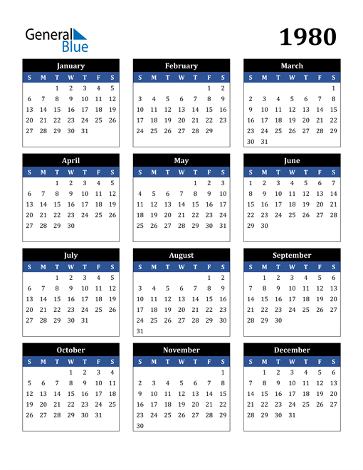 Image of 1980 1980 Calendar Stylish Dark Blue and Black