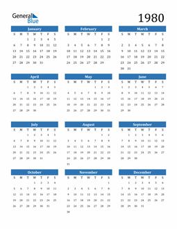 Image of 1980 1980 Calendar