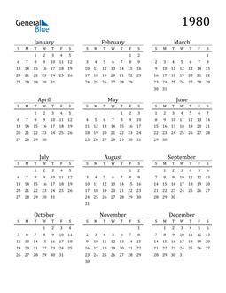 Image of 1980 1980 Printable Calendar Classic