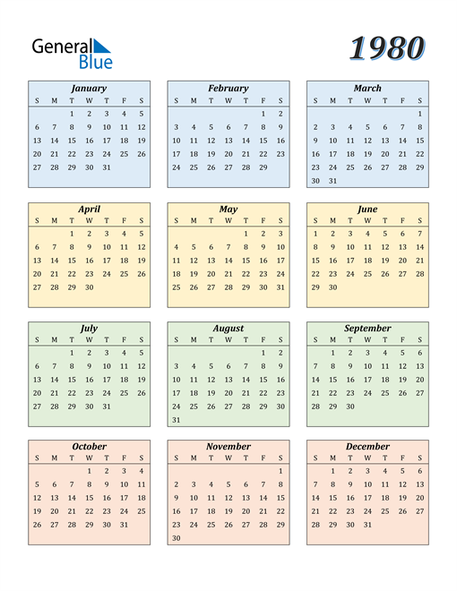 Image of 1980 1980 Calendar with Color