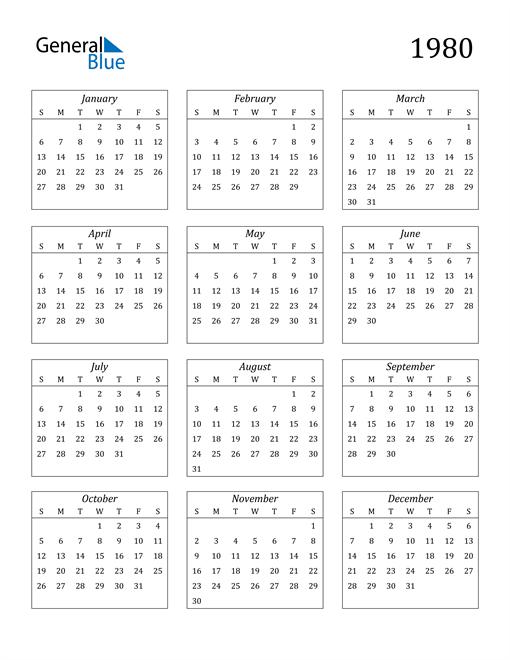 Image of 1980 1980 Calendar Streamlined