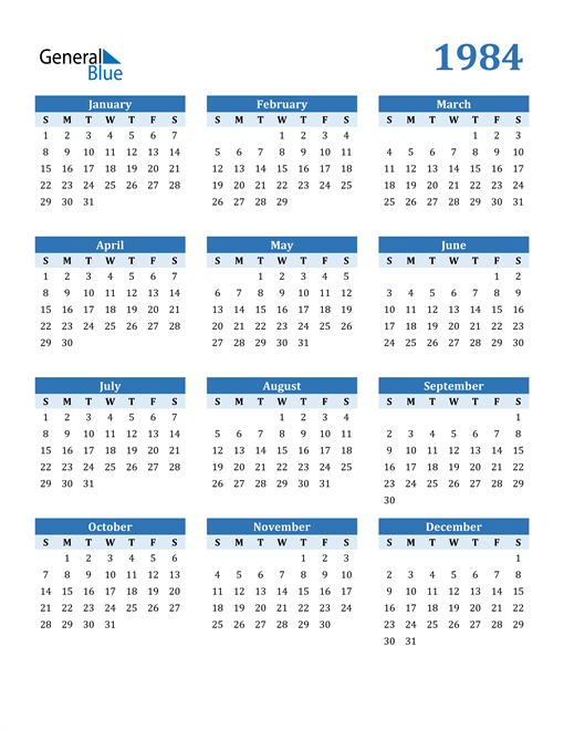 Image of 1984 1984 Calendar Blue with No Borders