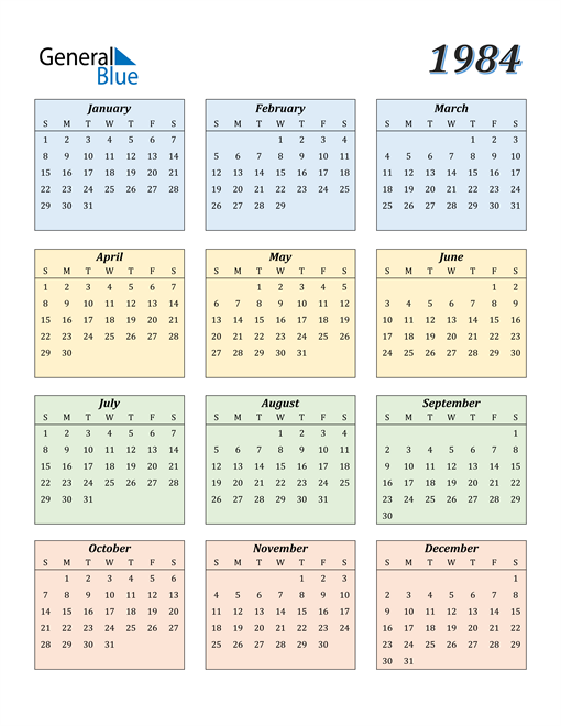 Image of 1984 1984 Calendar with Color