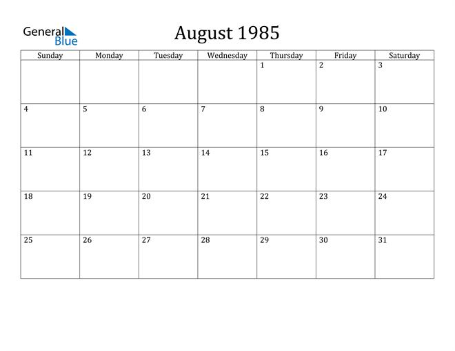 August 1985 Calendar