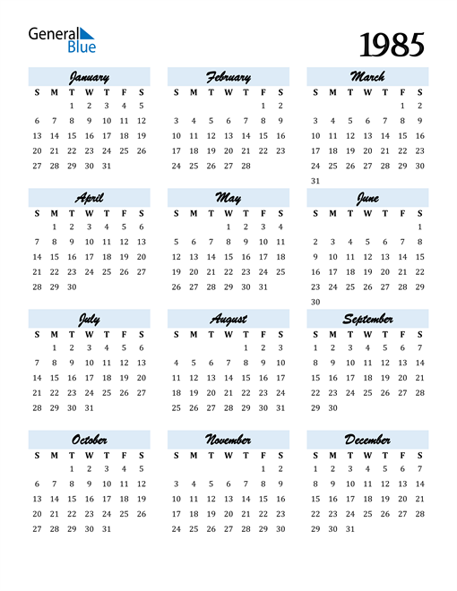 Image of 1985 1985 Calendar Cool and Funky