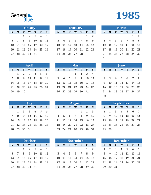 Image of 1985 1985 Calendar Blue with No Borders