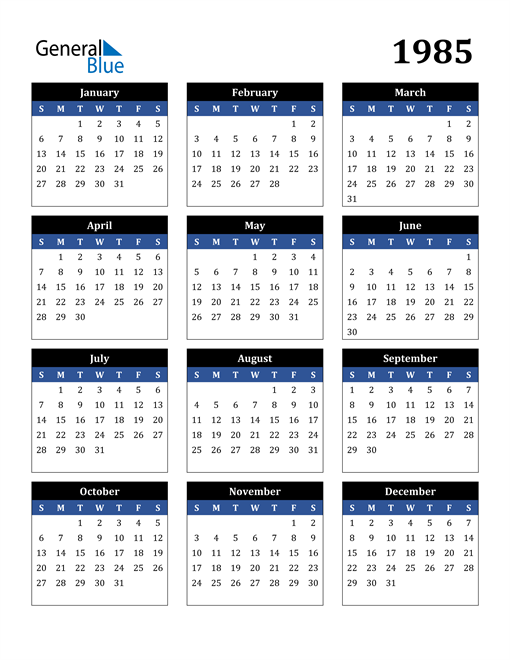 Image of 1985 1985 Calendar Stylish Dark Blue and Black