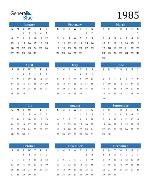 Image of 1985 1985 Calendar