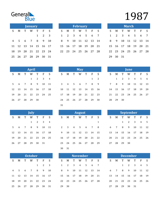 Image of 1987 1987 Calendar